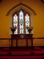 Stained glass above the altar
